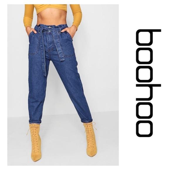 34a0616fa9c06 Boohoo Jeans   Pippy Paperbag Waist Mom Mid Blue Nwt   Poshmark